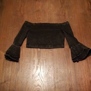 NWOT Zara Denim OTS Crop Top XS
